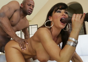 Agitated cloudy MILF gets nailed hard by two horny studs