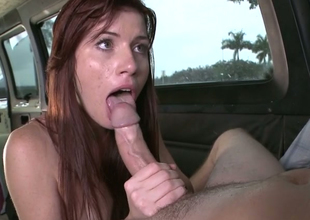 Hot redhead chick Annie  copulates her progressive fellow in his automobile