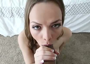 Smoking sexy babe giving priceless blowjob in high ambience sex video