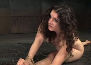 Flexible porn floosie Endza Adair is stretched in BDSM porn clip