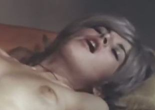 Lovely and cute golden-haired classic girl receives cunnilingus and rides a dick