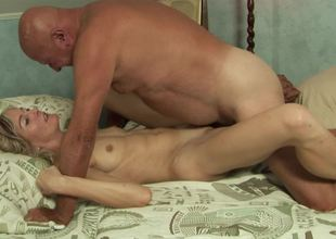 Adorable golden-haired slut wants to receive fucked by a really sexually excited grand-dad