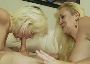 A couple of blonde bitches are doing some sexy work in a threesome