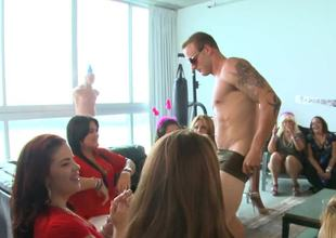 Bachelorette party angels are actually admirable at sucking big stripper cock