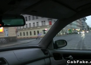 Czech toddler fucks there fake taxi at night