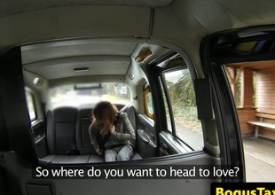 Breasty redhead taxi cutie assfucked by driver