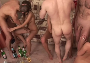 Evi C & Luna & Lydia R  in horny college orgy with a glamorous blond bimbo