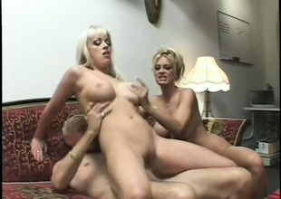 2 wonderful blondes please at all times other's fiery snatches increased by plot an older guy's cock
