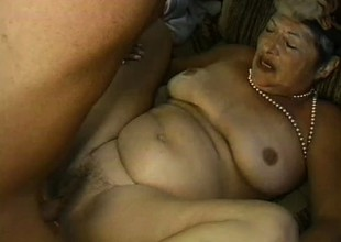 Uninhibited granny is expectant up receive drilled hard in doggy style