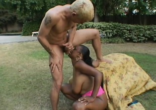 Chubby black broad with a foul up razing receives down with a blonde guy