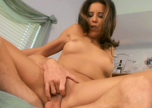Luscious housewife has her retrench pound her anal space on the ottoman