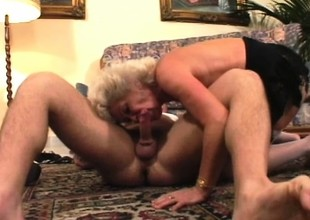 Irresistible fleshly granny is desirous near play with a massive rod