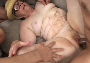 Fat aged foetus up glasses receives her puggy body group-fucked raw