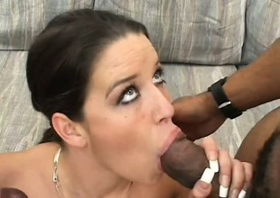 Taking young brunette sticks a black rod in her face hole while another stretches her cunt