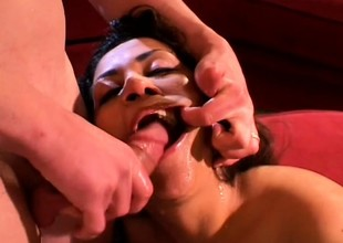 Gorgeous Latina Marisol shoves a dick down say no to throat before it explores say no to holes