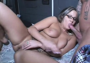 Nerdy Nicole gets her holes ravaged by duo hard meaty rods