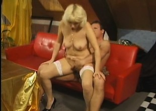 Hear this mature whore groan as a big dick tears into their way old lusty cleft