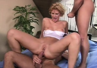 Short haired blonde favoured with a big tushy gets a verge on Dping