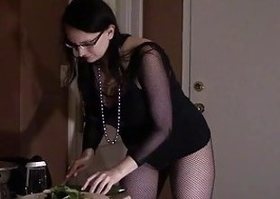 Hot Room Service Slut Bonks Cucumber in advance of to Shacking up and milking guests bushwa