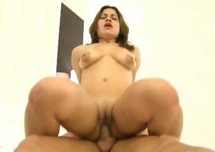Admirable gazoo cute brunette hair sweetheart fucking