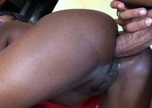 Ebony babe Jada Fire crammed up her pleasing ass with massive cock