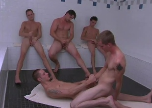 These 5 slutty twinks receives into some hot action in the sauna.  KC & Blackjack get into some hardcore gazoo screwing while the Rob, Jason adn Dean sit jerking off their cocks as they watch.  KC sits on Billy's blarney riding him like a pony until they both shoot their l