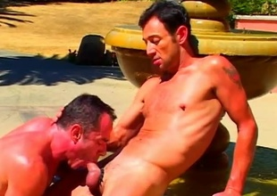 Mike Purview and his fellow obtain hawt in the sculpted stone fount in this 21 morsel scene that begins relative to a fellatio that has ''attention to detail'' written for everyone over it.  Both these guys are amazing to look at, relative to super-athlete muscles and big cocks that'l