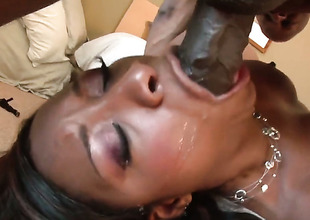 Imani Rose is wet as A go on a binge in this humidity interracial scene with a lot of pussy drilling