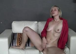 Amateur in leopard print panties rubs her pussy