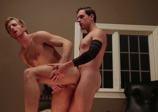 Big cock slides into a tight ass from behind