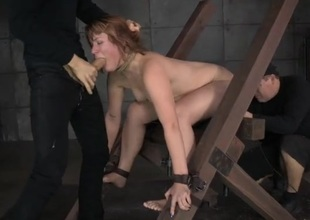Cocks pound the redhead relating to nasty bondage