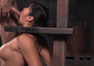 Orally talented Asian usherette girl gets throat fucked