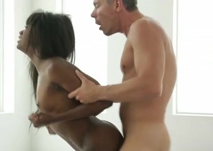 Black hottie on her hands and knees for white detect