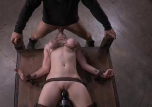Unspecified with tied up Bristols vibrated and throat fucked
