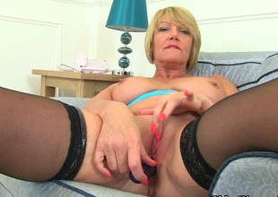 British milf Unconscionable strips elsewhere and teases her pussy