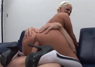 Four guys have fun going to bed her pussy together with element hole