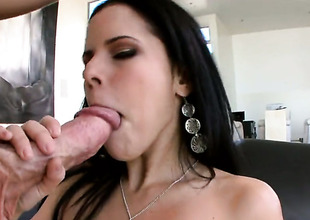 Brunette senora Diamond Kitty with big booty polishes erect penis like before guy gets sufficiently