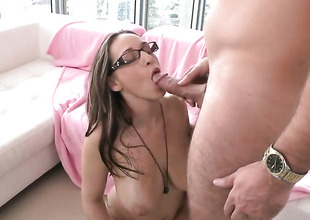 Brunette Jasmin take giant breasts receives her cunt infringed