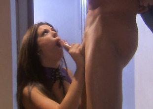 Roxy DeVille satisfies mans sexual needs increased by then gets her pretty face cum covered
