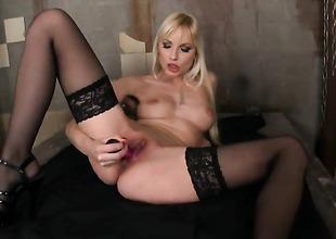 Blonde Lena Cova with needy wet gap goes solo