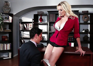 Stormy Daniels tries her hardest to make hard cocked guy bust a nut with her throat