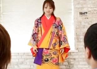 Miina is nude of kimono and well fucked