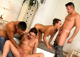 Renato, Choky Ice, Mea Melone and Wendy Moon are filmed doing an orgy. Watch them as they are having group sex. The skinny bitches unquestionably know how to make guys cum.