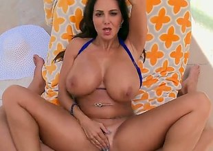 Milf brunette with huge jugs is widening her a-hole cheeks so some anal sex could be done. She does grizzle demand mind being filmed as it is happening.