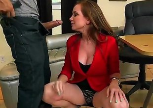 Jessica Rayne is a mature milf redhead that is giving a blow job and we also see her having straight sex on be transferred take table. She sure likes take take on a cock.
