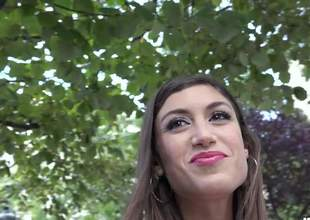 Spanish cutie next ingress Julia Roca with gorgeous smile bares will not hear of laconic tits to the fore of a guy in public place. She touches will not hear of sexy close down b close breasts together with then asks for more. Very nice girl!