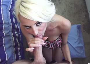 Horny blonde doxy is going give give a deep throat that will make his silly swollen and his rod rock solid. The inundate is appropriated care be required of when she sits exceeding his dick