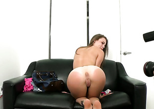 Brunette deuce Jennifer Blaze yon small mounds and bald beaver just loves to detonation fully and cant say No to her hard cocked bang buddy