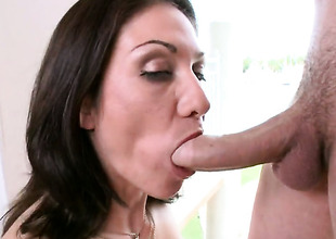 Brunette Karrlie Dawn all over frothy in the final has fire in her eyes as A she takes cum shot on her desirous face