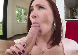 Redhead whore Sophia Locke with large melons and trimmed beaver shows the brush love for love torpedo sucking in blowjob pretend with hot bang buddy